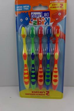 Dr. Fresh Kids Toothbrushes Extra Soft Oral care 5 Pack NIB