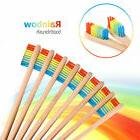 10 Pcs Medium-Bristle Bamboo Toothbrush Rainbow Wood Teeth B