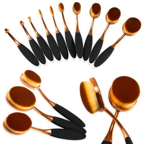 10pcs Toothbrush Oval Makeup Brush Contour Powder Blush Eyes