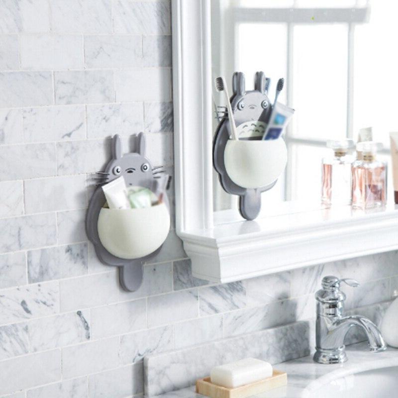 1pcs <font><b>Toothbrush</b></font> <font><b>Wall</b></font> Mount <font><b>Holder</b></font> Cute Totoro Sucker box Bathroom Organizer Accessories
