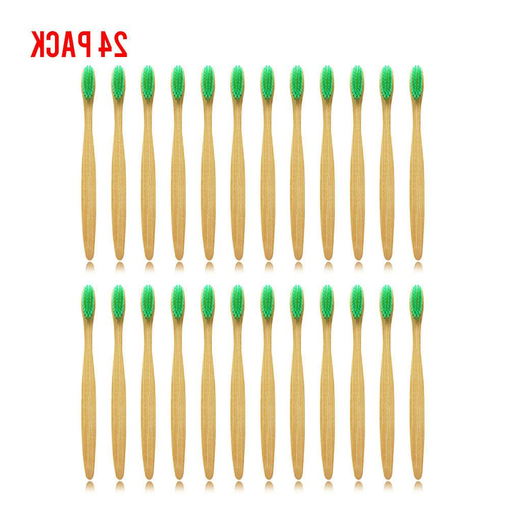 24PCS/lot Dr.Perfect Bamboo Toothbrush Oral Care Soft Green