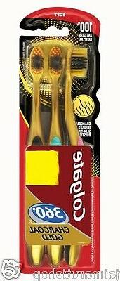 Colgate 360 Toothbrush Charcoal gold Gentle Clean Teeth tong