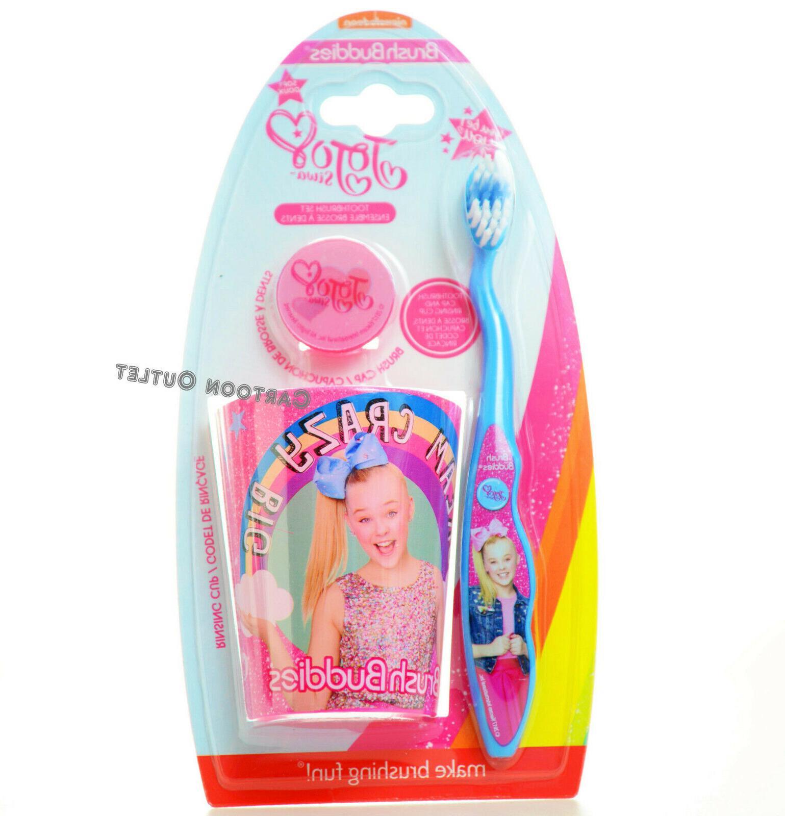 3pcs Jojo siwa pink Big Girl Toothbrush Cap & Rinsing Cup Se