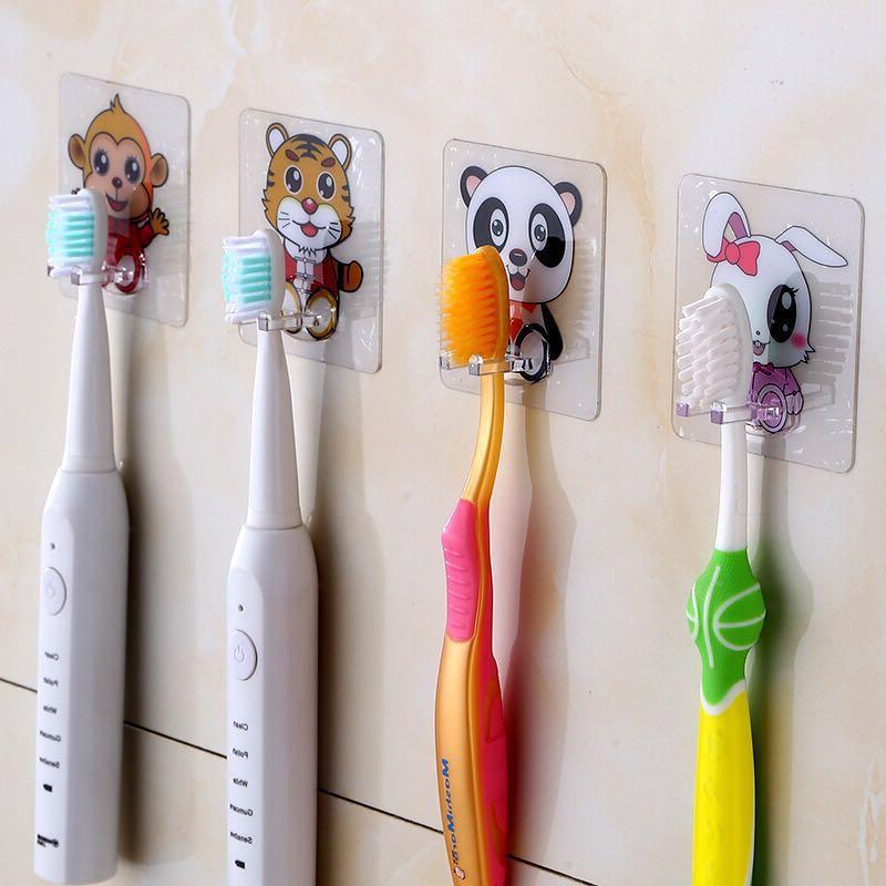4pcs <font><b>Toothbrush</b></font> <font><b>Holder</b></font> Travel Stand Toilet Shaver Organizer Tooth Brush Storage Rack Bathroom Panda