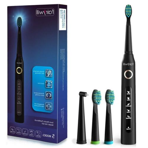 Fairywill Electric Toothbrush Sensitive Modes Black Fast Charge