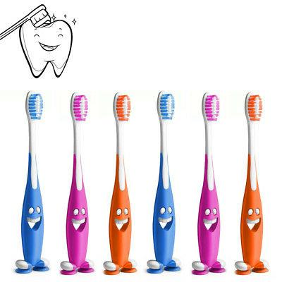 5 Pc Happy Face Toothbrush Kids Soft Bristles Suction Cup St
