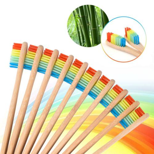 5X Bamboo Toothbrush Rainbow Teeth Brush Wooden Handle Oral