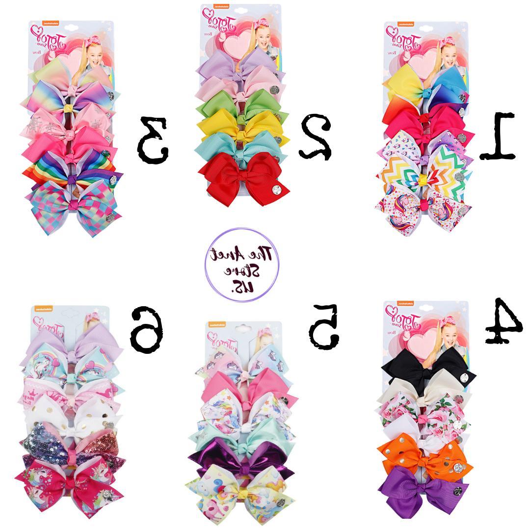6 pcs set rainbow printed knot ribbon