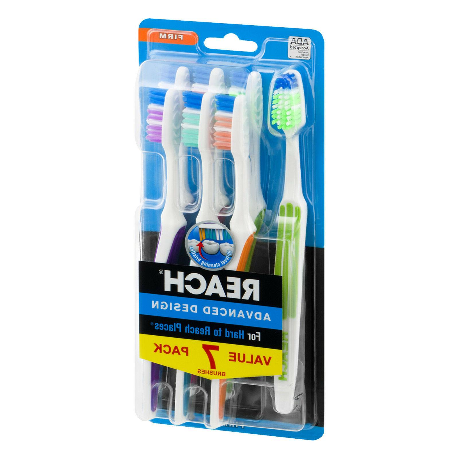 REACH 7-PACK ADVANCED DESIGN TOOTHBRUSHES FIRM BRISTLES for