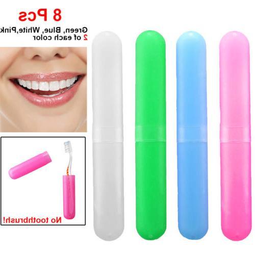 8Packs Toothbrush Holders Case Travel Kit Camping Cover Tube