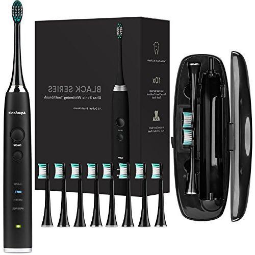 AquaSonic Whitening 8 DuPont Brush Heads & Travel Ultra Sonic 40,000 Motor - Modes Smart Timer Modern Electric