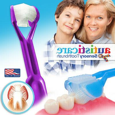 autisticare 3 sided toothbrush special needs fast