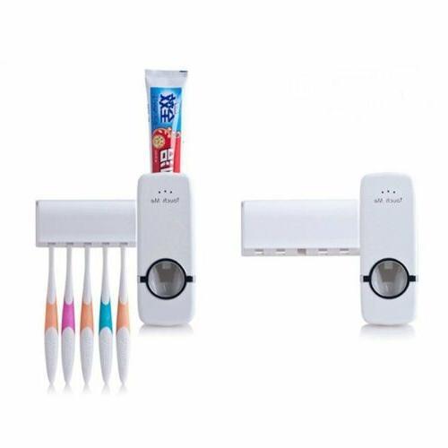 Auto Automatic Toothpaste Dispenser+ 5 Toothbrush Holder Set
