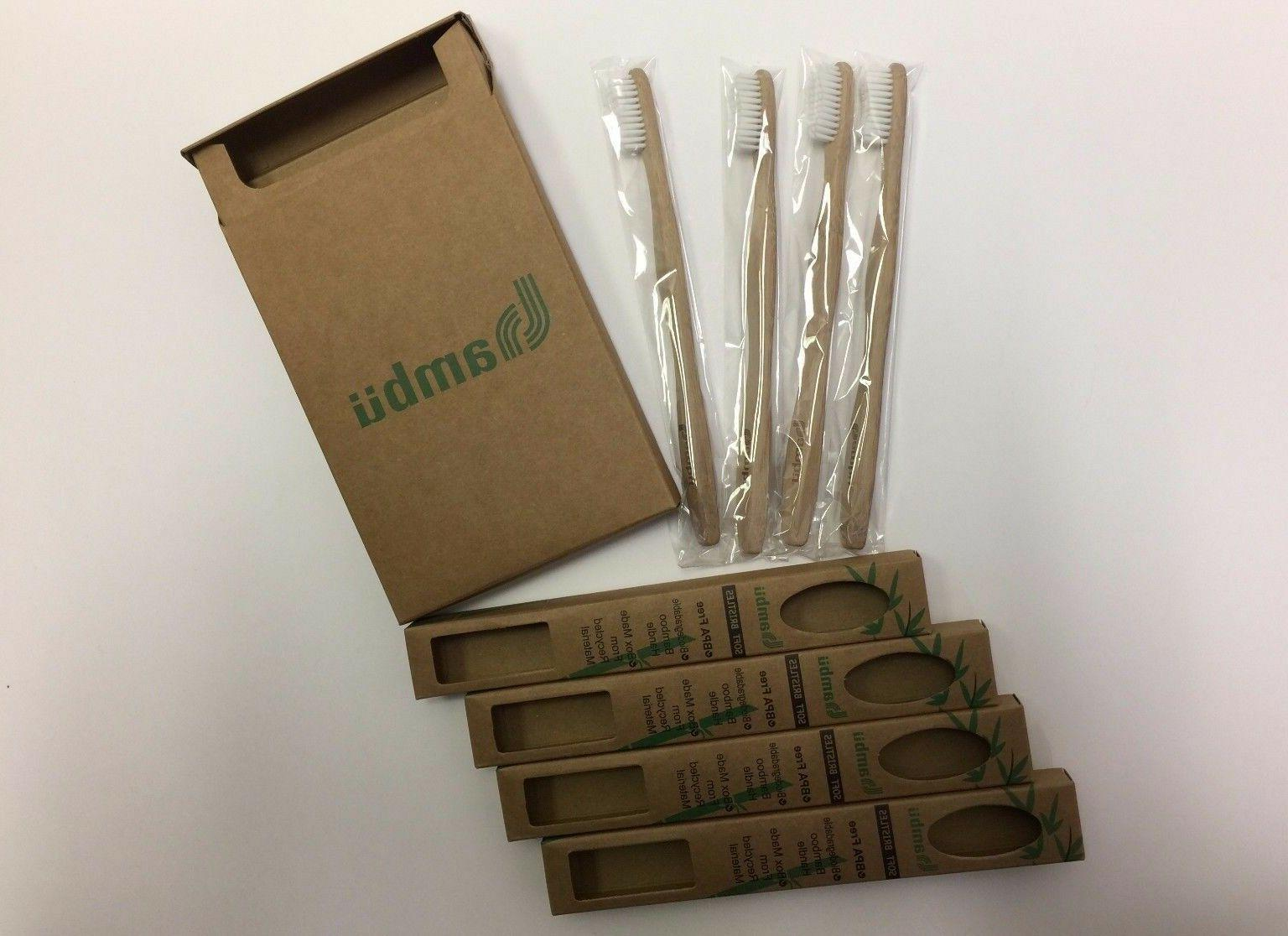 4 PACK Natural Bamboo Toothbrush - Eco Friendly - BPA Free-S