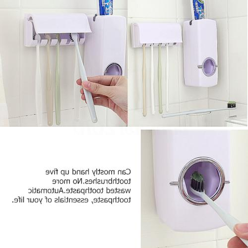 Bathroom Toothpaste Dispenser+5 Toothbrush Set