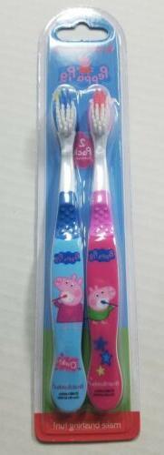 BRAND NEW  Brush Buddies Peppa Pig 2 Pack Toothbrush Soft ro