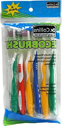 Dr. Collins Ecobrush Toothbrushes, 6 ea