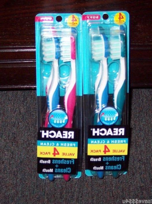 EIGHT NEW REACH FRESH & CLEAN TOOTHBRUSHES FULL SOFT HEAD W/
