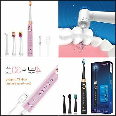 Fairywill Electric Sonic Toothbrush 5 Modes 4 Brush Heads wi