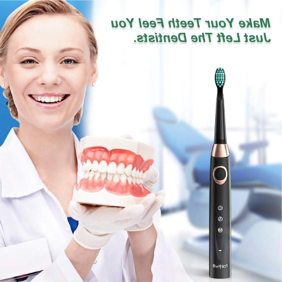 Fairywill Sonic Electric Toothbrush Black Timer Rechargeable Summer Travel