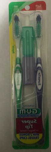 G-u-m Supertip Toothbrush with 2 Bonus Travel Caps, #460 Sof