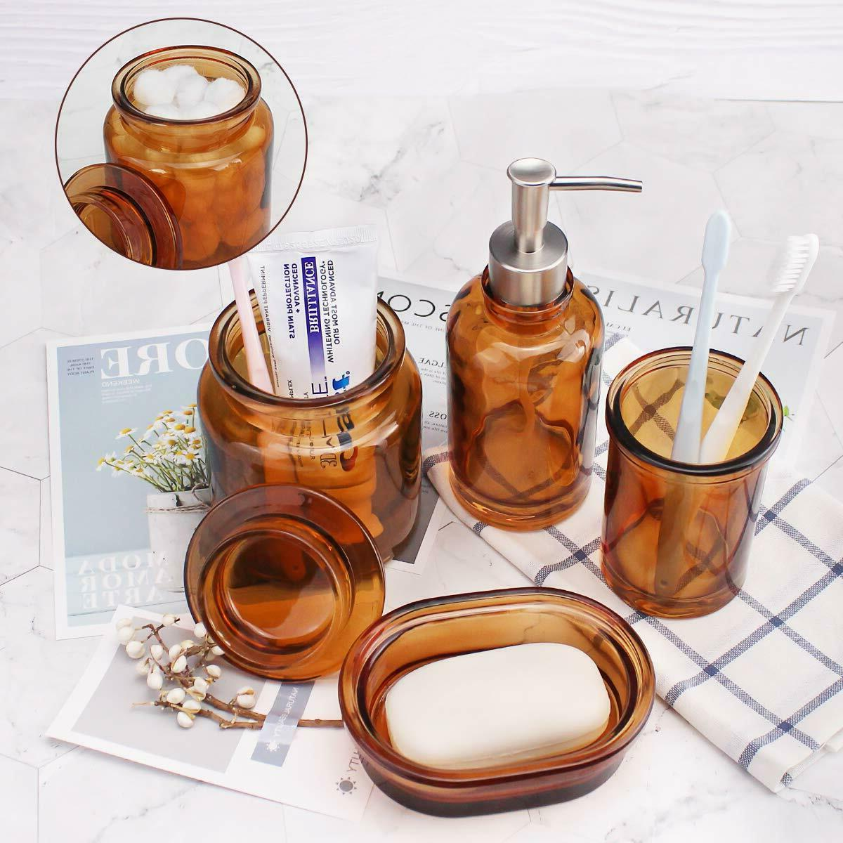 Glass Bathroom Accessories Soap Holder, Tumbler