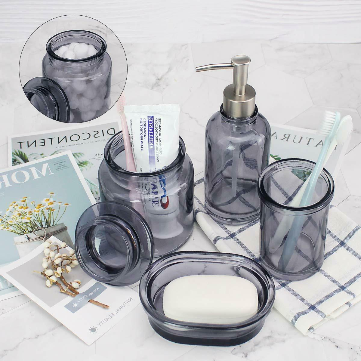Glass Accessories Set Soap Holder, Tumbler