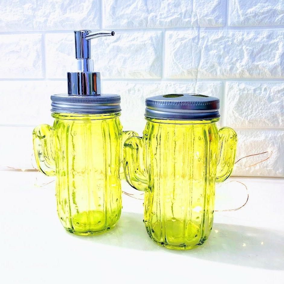 green cactus glass bathroom accessories southwest desert