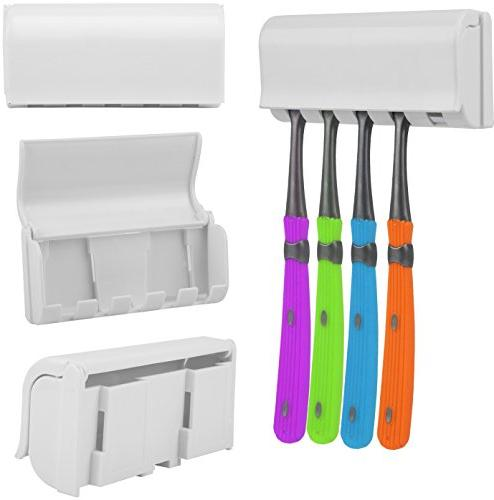 iMounTEK Toothpaste & Holder W/ Suction Mount. Easy Installation, Squeezer, 5 For Shower Bathroom Sink