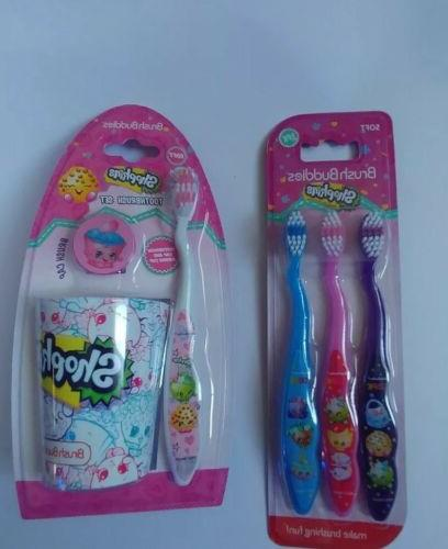 kids shopkins toothbrush and cup set