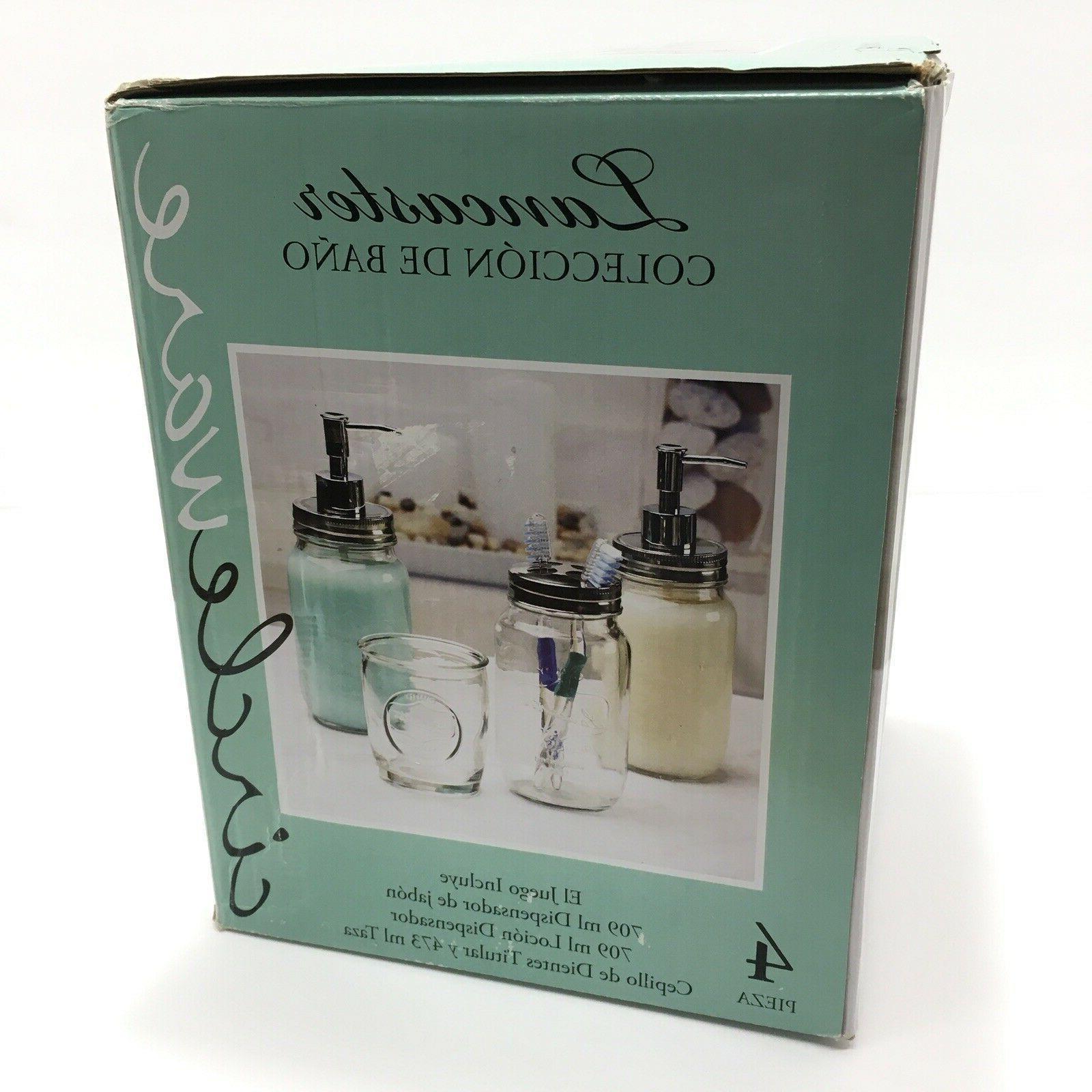 Circleware Mason Glass Bathroom Pump Toothbrush