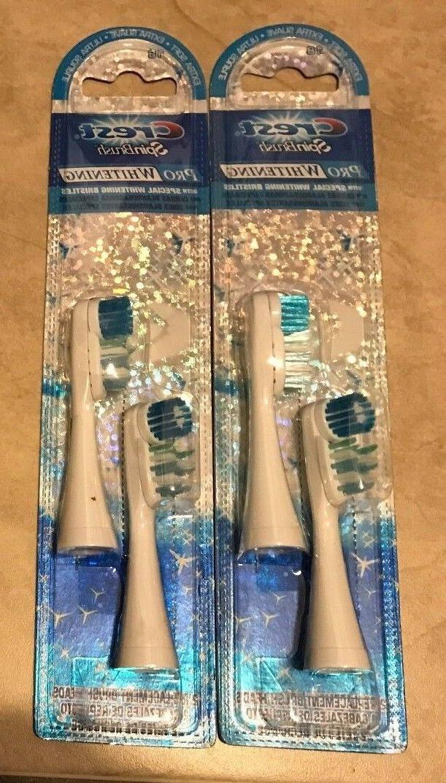 LOT 2 Genuine Crest 2-Pack 4 SpinBrush Pro Whitening Toothbr