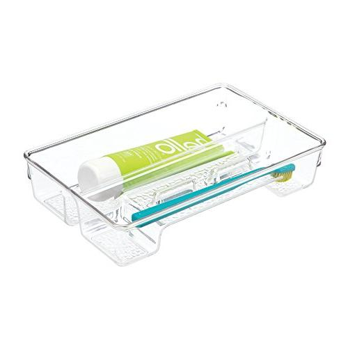 mDesign Plastic Toothbrush Holder, Storage Organizer Bin for