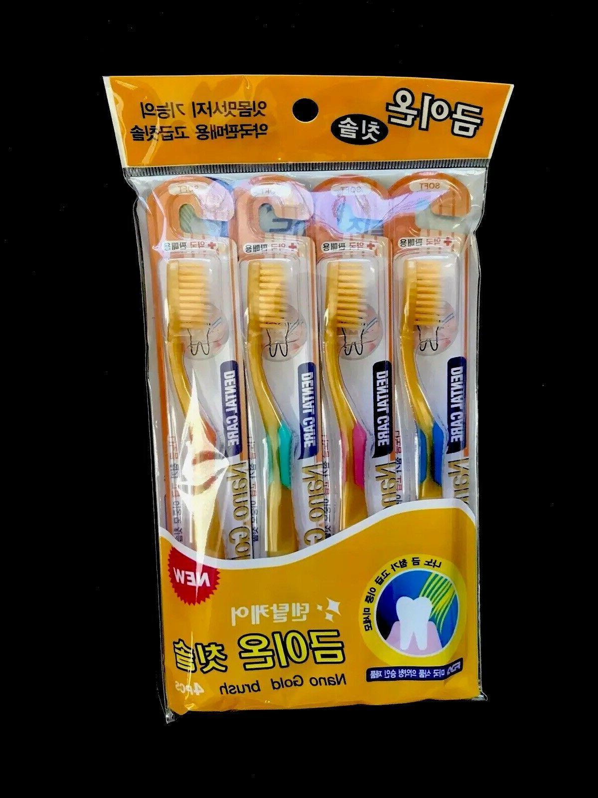 nano gold toothbrush 4pcs set