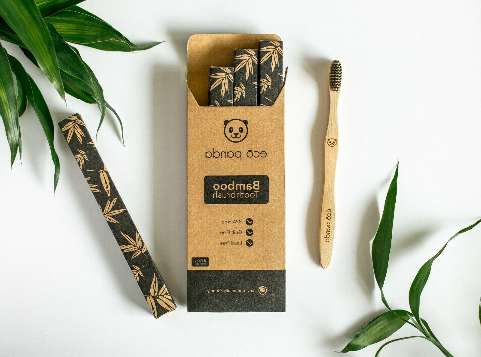 natural bamboo toothbrush 4 pack adult vegan