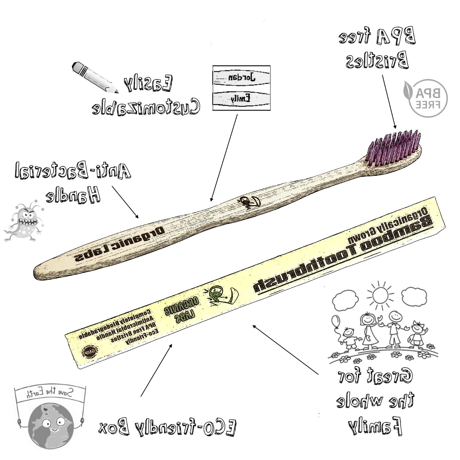 Natural Bamboo Toothbrush Free Color Bristles Pack of