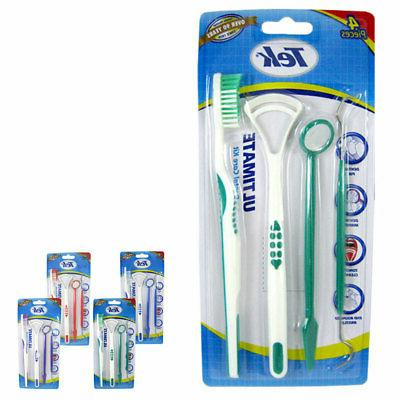 4pc Oral Dental Hygiene Set Pick Tongue Scraper Tooth Brush