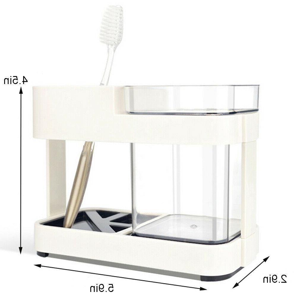 INTBUYING Toothbrush Toothpaste Stand Holder Bathroom Storag