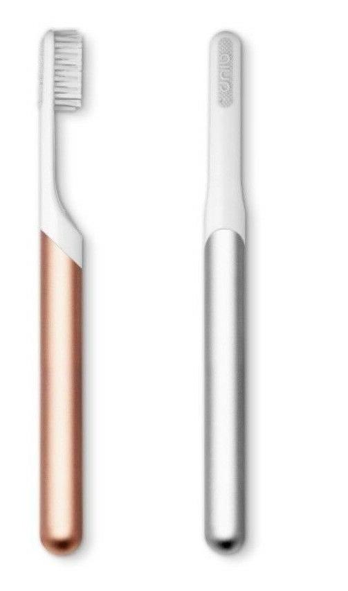 quip electric toothbrush silver and rose gold