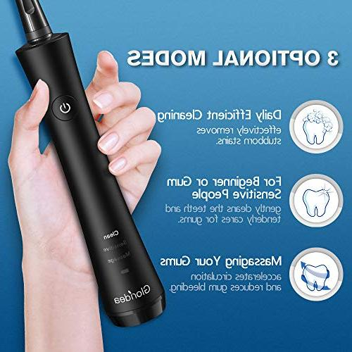 Rotary for Adults, Toothbrush with Smart and Battery Powered Spin Toothbrush with Heads, Toothbrushes Black Gloridea