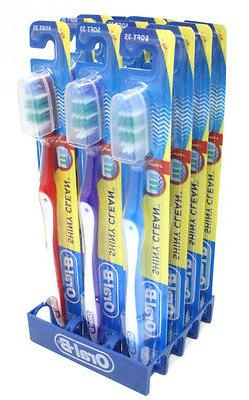 24 Pcs Oral-B Shiny Clean Toothbrushes With Head Cover Soft