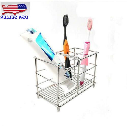 NEW Stainless Toothbrush Toothpaste Stand