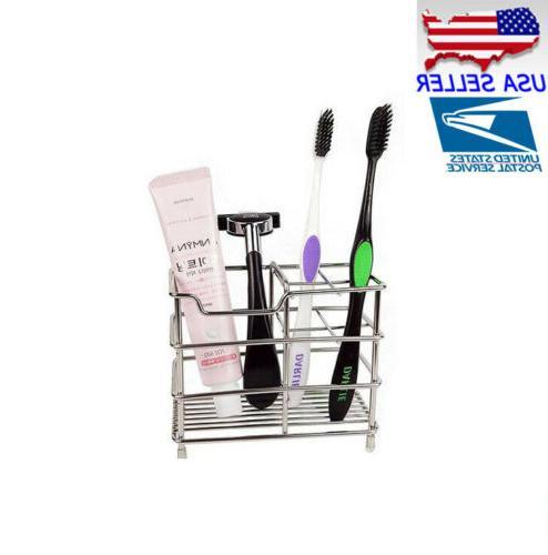 NEW Stainless Steel Bathroom Toothbrush Toothpaste Holder Ra
