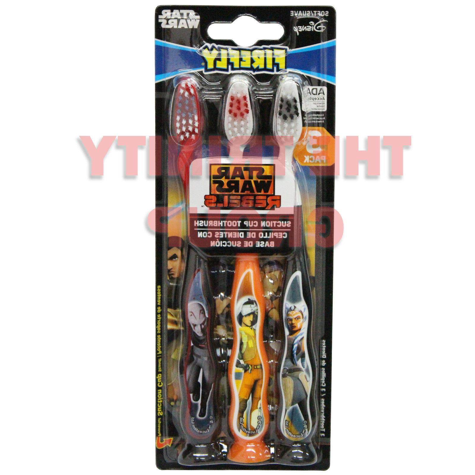 STAR WARS 3 PACK KIDS TOOTHBRUSH WITH SUCTION CUP BOTTOM