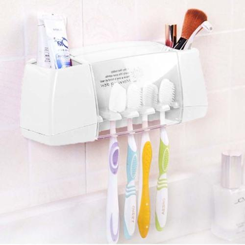 toothpaste toothbrush holder home bathroom wall mount