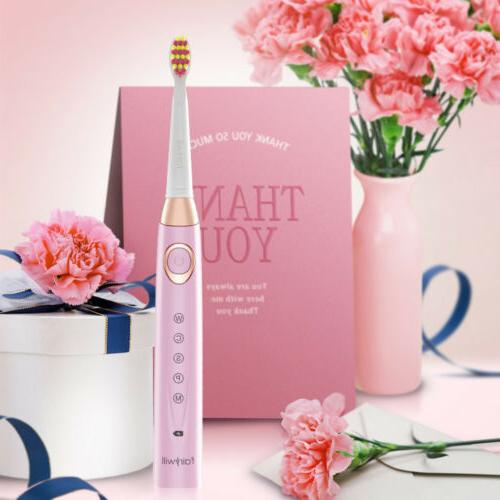 Fairywill Pink Sonic Toothbrush 5 Rechargeable IPX7 for Your Girl