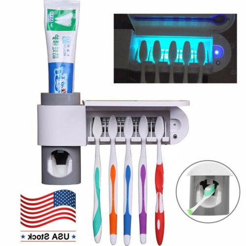 Toothbrush UV Light Cleaner Automatic Toothpaste Dispenser