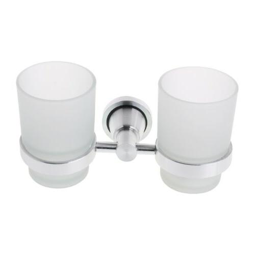 wall mounted double glass cups toothbrush tumbler