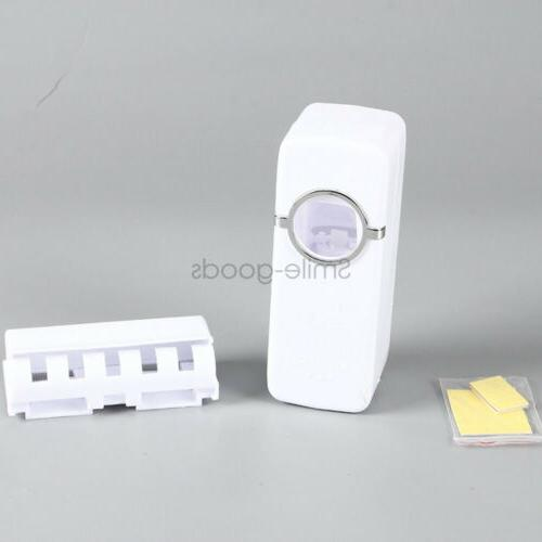 White Automatic Toothpaste Dispenser + Holder Set Mount Stand