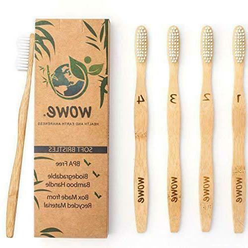 Wowe Lifestyle Natural Organic Bamboo Toothbrush Eco-Friendl